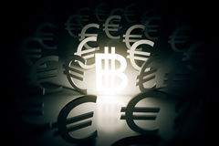Bitcoin with euro signs around Royalty Free Stock Photo