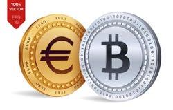 Bitcoin Euro violento a metà contro vecchia priorità bassa monete fisiche isometriche 3D Valuta di Digital Cryptocurrency Monete  Fotografie Stock