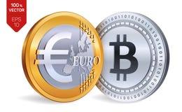 Bitcoin Euro violento a metà contro vecchia priorità bassa monete fisiche isometriche 3D Valuta di Digital Cryptocurrency Monete  Fotografia Stock Libera da Diritti