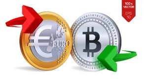 Bitcoin Euro wymiana walut Bitcoin menniczy euro Cryptocurrency Złote i srebne monety z Bitcoin i Euro symbol z g Obrazy Stock