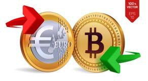 Bitcoin Euro wymiana walut Bitcoin menniczy euro Cryptocurrency Złote monety z Bitcoin i Euro symbol z zielonym i ponownym Obrazy Royalty Free