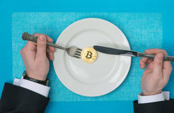 Bitcoin and Exchange. On the background stock image