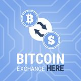 Bitcoin exchange here  image on chipset background. Royalty Free Stock Images