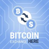 Bitcoin exchange here  image on chipset background. Royalty Free Stock Photography