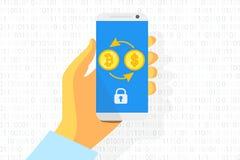 Bitcoin exchange logo on white background. Gold coin. Concept for internet banking. Vector. Bitcoin exchange logo on smartphone background. Gold coin. Concept Royalty Free Stock Photos