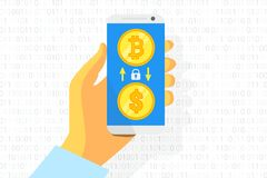 Bitcoin exchange logo on white background. Gold coin. Concept for internet banking. Vector. Illustration Stock Photography