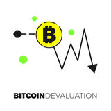 Bitcoin exhange graph. Going down graph with ditcoin sign. Descending cryptocurrency exhange rate. Flat design isolated on white background. Negative trend for Royalty Free Stock Photo