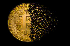 Bitcoin explosion. Bitcoin symbol explosion and disintegration royalty free stock image