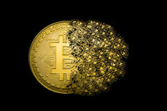 Bitcoin explosion. Bitcoin symbol explosion and disintegration Royalty Free Stock Images