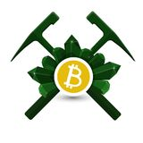 Bitcoin extraction emblem, icon with geological hammers and crystals vector Royalty Free Stock Photos