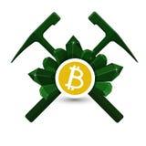 Bitcoin-Extraktionsemblem, Ikone mit geologischen Hämmern und Kristallvektor Lizenzfreie Stockfotos