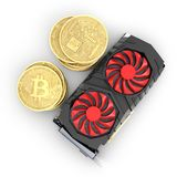 Bitcoin extrayant la carte vidéo puissante pour extraire et gagner le concept de cryptocurrencies d'isolement sur le fond blanc 3 illustration de vecteur