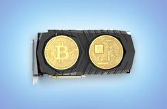 Bitcoin extrayant la carte vidéo puissante pour extraire et gagner le concept de cryptocurrencies d'isolement sur le fond bleu 3D illustration stock