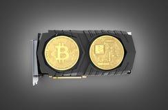 Bitcoin extrayant la carte vidéo puissante pour extraire et gagner le concept de cryptocurrencies d'isolement sur le fond noir 3D illustration stock