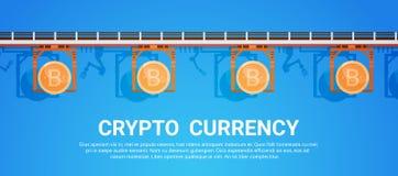 Bitcoin extrayant le crypto concept moderne d'argent de Web de Digital de technologie de mise en réseau de devise Photographie stock libre de droits