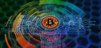 Bitcoin extrayant le fond abstrait Image stock
