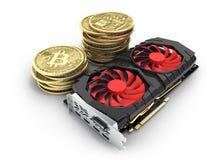 Bitcoin extrayant les cartes vidéo puissantes pour extraire et gagner le concept 3D de cryptocurrencies pour rendre illustration libre de droits