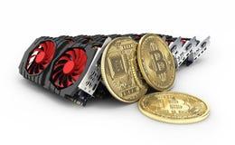 Bitcoin extrayant les cartes vidéo puissantes pour extraire et gagner le concept de cryptocurrencies d'isolement sur le fond blan illustration de vecteur