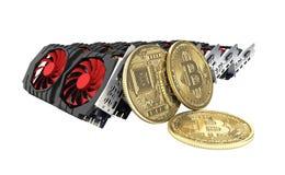 Bitcoin extrayant les cartes vidéo puissantes pour extraire et gagner le concept de cryptocurrencies d'isolement sur le fond blan illustration stock