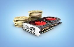 Bitcoin extrayant les cartes vidéo puissantes pour extraire et gagner le concept de cryptocurrencies d'isolement sur le fond bleu illustration de vecteur