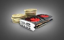 Bitcoin extrayant les cartes vidéo puissantes pour extraire et gagner le concept de cryptocurrencies d'isolement sur le fond noir illustration stock