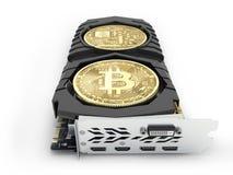 Bitcoin extrayant les cartes vid?o puissantes pour extraire et gagner le concept de cryptocurrencies d'isolement sur le fond blan illustration libre de droits