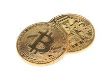 Bitcoin för guld- mynt arkivfoto
