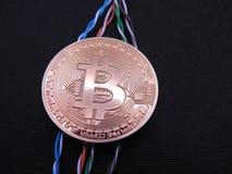 Bitcoin förband med vridna datakablar Arkivbilder