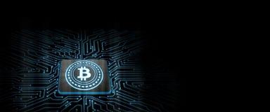 Bitcoin führte Glühen auf Computer-Chip mit Leiterplattehintergrund lizenzfreie abbildung