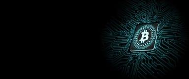 Bitcoin führte Glühen auf Computer-Chip mit Leiterplattehintergrund stock abbildung
