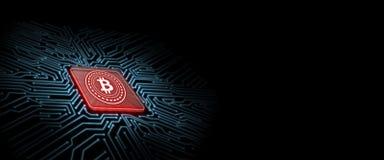 Bitcoin führte Glühen auf rotem Computer-Chip mit Leiterplattehintergrund Konzept der Mikrochiptechnologie vektor abbildung