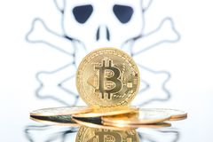 Bitcoin fail concept, Golden bitcoin with skull and bones in the background. White background royalty free stock photo