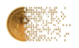Bitcoin Falling Apart To Digits. 3D Model Royalty Free Stock Photos