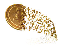 Bitcoin Falling Apart To Digits. 3D Model Stock Image