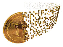 Bitcoin Falling Apart To Digits On White. Background. 3D Model Stock Photography
