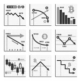 Bitcoin Falling Down Chart Graphics Set. Vector. Illustration Stock Photos