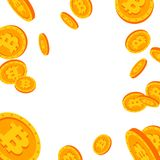Bitcoin Falling Explosion Vector. Flat, Cartoon Gold Coins Illustration. Cryptography Finance Coin Design. Fintech. Blockchain. Currency Stock Photo