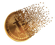 Bitcoin Falls Apart To Pixels Royalty Free Stock Photo