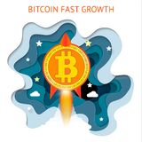 Bitcoin is fast growing. Cryptocurrency financial system grows.. Bitcoin is fast growing. Cryptocurrency financial system grows. Digital currency, technology Stock Photos