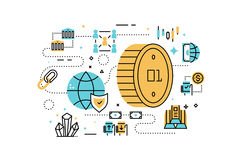 Bitcoin and finance illustration Royalty Free Stock Photo