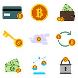 Bitcoin Financial Related Vector Illustration Graphic Icon Set. Design Stock Photography