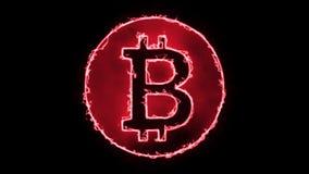 Bitcoin Fire Neon - Black Background 4K. For business Bit coin Bit-coin Biotin stock illustration