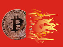 Bitcoin on fire. Bitcoin on red - yellow hot fire Royalty Free Stock Photos