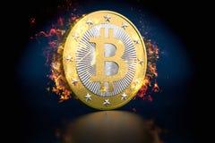Bitcoin on Fire.  Stock Photography