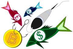 Bitcoin fiske Är crypto valuta för myntet på kroken som fångar fisken med symboler av verkliga pengar stock illustrationer
