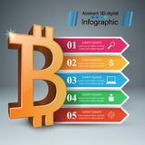 Bitcoin five items paper infographic. Royalty Free Stock Photography