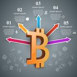 Bitcoin five items paper infographic. Royalty Free Stock Images