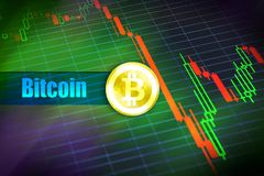 Bitcoin-Flüchtigkeit Schnelle Änderung, fallendes bitcoin Preisdiagramm Stockfoto