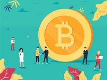 Bitcoin. Flat design style web banner of blockchain technology, bitcoin or altcoins and cryptocurrency mining. Finance digital money market, cryptocoin wallet Royalty Free Stock Images