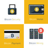 Bitcoin flat icons template Stock Photo